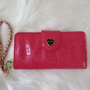 NWT Betsey Johnson Hot Pink Wristlet Clutch